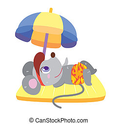 a mouse's beach activities - a cute mouse soak up a sunbathe