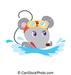 a mouse's beach activities - a cute mouse is swimming