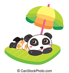 a panda's beach activities - a cute panda soak up a sunbathe