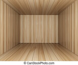 Room of wood decorated, 3d rendering