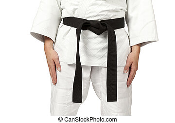 black belt - a women wearing a black belt isolated on white