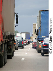 Cars stopping - Many cars stopping in one directions. Europe...