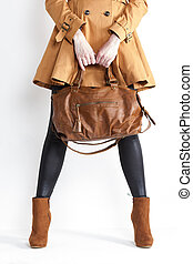 posición, Llevando, mujer, zapatos, marrón, Moderno,...