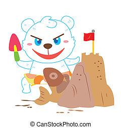 a polar bear's beach activities
