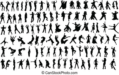 Dancers - Lots of silhouettes of dancing people Vector