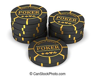 Poker chips on a white background