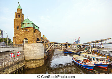 part of the famous Landungsbruecken in Hamburg - HAMBURG,...