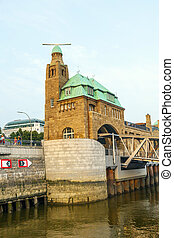 part of the famous Landungsbruecken in Hamburg - part of the...