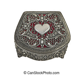 Closed Red Heart pewter jewelry box with clipping path
