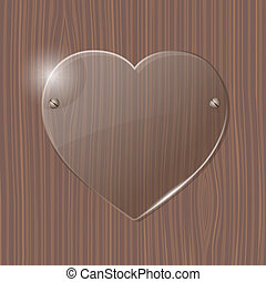 Glass Heart frame on a wooden background Vector illustration...