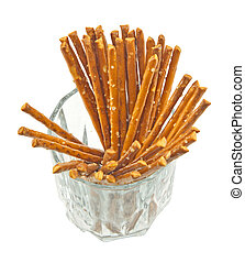 Pretzel sticks - A handful of salty sticks in a glass...