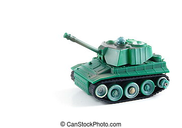 Tank - toy tank isolated on a white background.