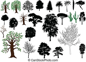 Trees - Set of vector trees (silhouettes, drawing)