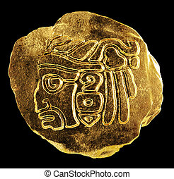 Mayan culture - Gold ornament depicting the head of an...
