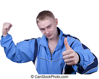 young man blue track suit