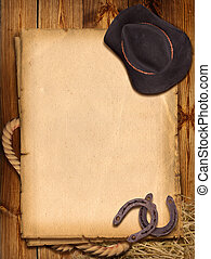 Western background with cowboy hat and horseshoe - Western...
