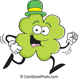 Cartoon running shamrock