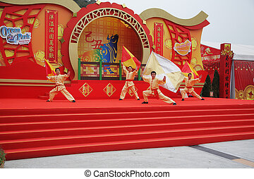 Actors in costumes - HONG KONG - JANUAR 24: Beautiful scenes...