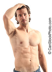 Young naked sexy man  on a white isolated background
