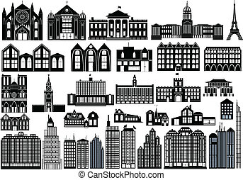 Simple buildings - Set of black symbols of buildings,...
