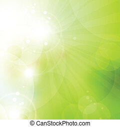 Abstract green bokeh background with lights