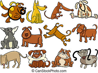 cartoon dogs or puppies big set - Cartoon Illustration of...