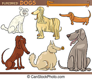 purebred dogs cartoon set