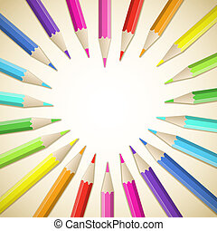 Colored pencils - Background with frame of colored...