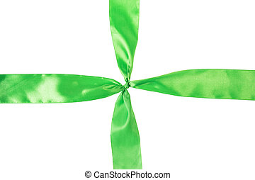 green ribbon cross, isolated on white background