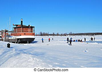 Finland. Lappeenranta harbor in winter - Finland. Frozen...