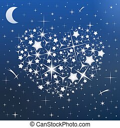 Heart in the sky - Heart made of stars in the night sky,...