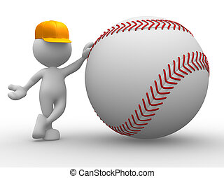 Baseball ball - 3d people - man, person with a baseball ball