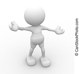 Happy - 3d people - man, person - welcome and be happy