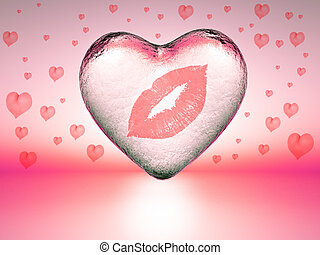 love - trace of lipstick on a heart of ice