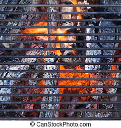 Barbecue grill over charcoal - ready to cook
