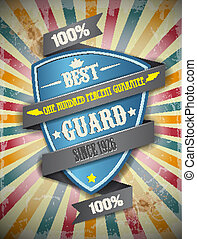 Retro background. Guard, protection - Vector image Retro...