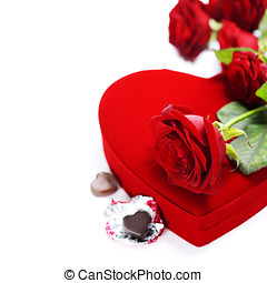 red roses and hearts for Valentines Day - red roses and...