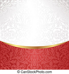 white and red background with ornaments