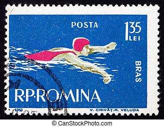 Franqueo, natación, rumania, estampilla, estilo, 1963,...