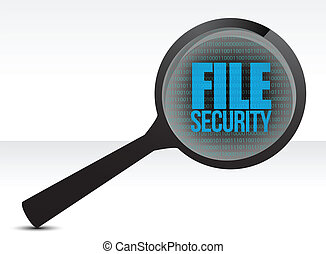 Magnifying optical glass with words file security