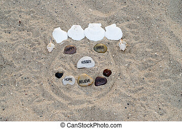 Happy Face - A happy face made with assorted seashells