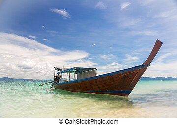 Long Tail Boat Tropical Beach