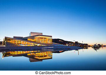 Oslo Opera House, Norway - Oslo Opera House shine at dusk,...