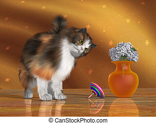 Bella the House Cat - Bella, a calico cat, looks at a...