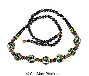 Necklace of wooden beads