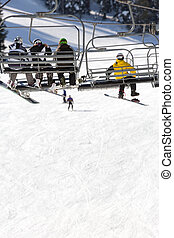 ski lift - ski mountain with view on ski lift