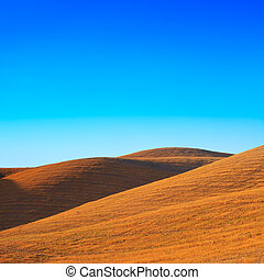 Tuscany: typical landscape. Rolling hills near Volterra. - A...