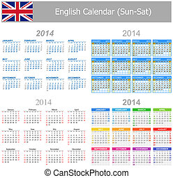 2014 English Mix Calendar Sun-Sat on white background