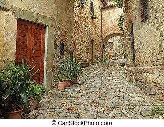 Beautiful italian small street in tuscan village...