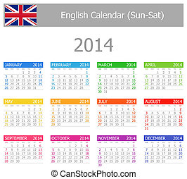 2014 English Type-1 Calendar Sun-Sat on white background
